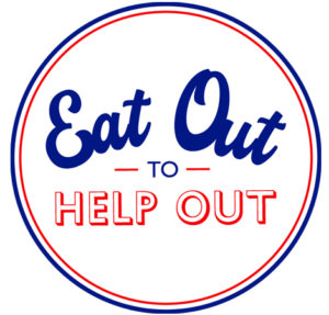 Eat Out to Help Out logo, displayed by participating pubs, restaurants and cafes in and around Gateshead